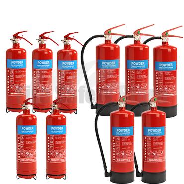 2Kg ABC Dry Powder Fire Extinguishers x5 & 6Kg ABC Dry Powder Fire Extinguishers x5