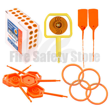 Orange Year Dated Gauge Dots, Chubb Pin Ok Indicator, Anti-Tamper Seals, Hose O'Ring & Universal Safety Pins