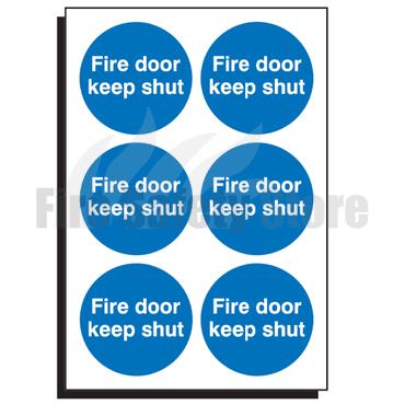 65mm Fire Door Keep Shut Sign (Sheet of 6)