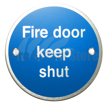 Prestige Fire Door Keep Shut Anodized Aluminium Sign 80mm x 80mm